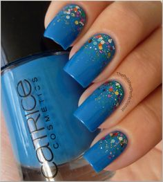 Catrice Blue Cara Ciao + Essence - Circus Confetti + Color Club Sultry Diva and Object of Envy