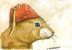 ACEO signed PRINT -    Prairie dog in a Fez. $5.00, via Etsy.