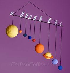 How to make a Solar System Mobile. Tutorial on CraftsnCoffee.com.