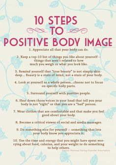 Motivation Take Note, Ladies: 10 Steps to a Positive Body Image :-) 10 Week Workout Plan: good exercise combo if you dont know where to star. Health Tips, Health And Wellness, Health Fitness, Mental Health, Health Club, Body Fitness, Fitness Diet, Healthy Mind, Get Healthy