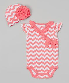 Look at this Coral Chevron Bodysuit & Beanie on #zulily today!
