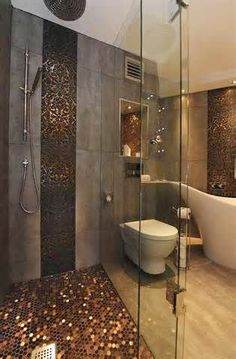 View Rich Bathroom Decorated With Glamorous Tiles Interior Design That Shower Floor