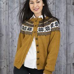 Olea Jakke - Viking of Norway Cardigan Design, Vikings, Knit Sweaters, Cardigans, Knitting, Yellow, Submissive, Color, Island