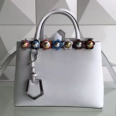 a5831910bd4e Fendi Calfskin 2Jours Bag With Multicoloured Flower Studs White 2017  Designer Purses