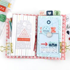 Out and About Pocket Size TN – Pinkfresh Studio Rainbow Paper, Paper News, Travel Journals, Travelers Notebook, Mini Albums, Ali Edwards, Pocket, Studio, Notebooks