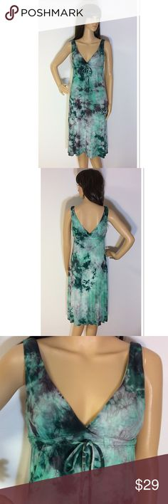 LUCKY BRAND TYE DYE DRESS/COVERUP Gently used dress/coverup with a lined bust and a drawstring waist. Beautiful greens in the palette of colors.  Rayon and spandex for a nice stretch Lucky Brand Dresses Midi