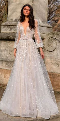 30 Revealing New Wedding Dresses 2019 ❤️ wedding dresses 2019 a line deep plunging v neck bling long sleeve julie vino ❤️ See more: http://www.weddingforward.com/wedding-dresses-2019/ #weddingforward #wedding #bride #weddingdresses2019 #bridalgown