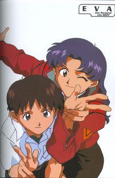 Shinji Ikari, Misato Katsuragi, Taking Picture, Gainax, Neon Genesis Evangelion