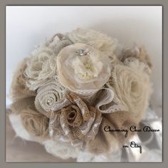 A personal favorite from my Etsy shop https://www.etsy.com/listing/221864079/burlap-and-lace-wedding-bouquet-country