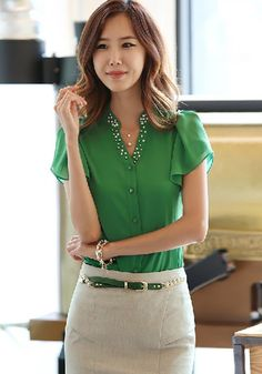 Green Plain Beading Flutter Sleeve V-neck Chiffon Blouse - Blouses - Tops
