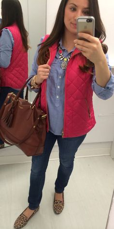 Old Navy vest & skinny jeans, J Crew chambray, & Target loafers #ootd #mystyle