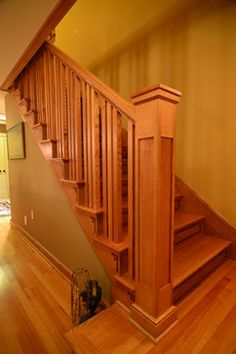 Prairie Style - Whole House Remodel craftsman staircase Staircase Railing Design, New Staircase, Staircase Remodel, Deck Railings, Craftsman Style Interiors, Craftsman Interior, Craftsman Staircase, Wooden Stairs, Construction Design