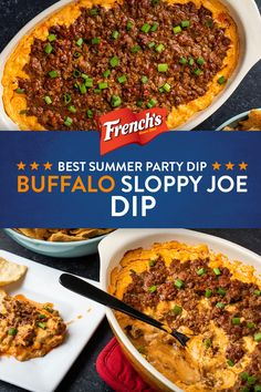 Buffalo Sloppy Joe Dip We've turned our favorite sandwich into your new go-to summer party dip. With only 5 minutes of prep, you'll be cooking this Buffalo Sloppy Joe Dip all summer long. Dip Recipes, Meat Recipes, Mexican Food Recipes, Appetizer Recipes, Appetizers, Cooking Recipes, Recipies, My Burger, Good Food