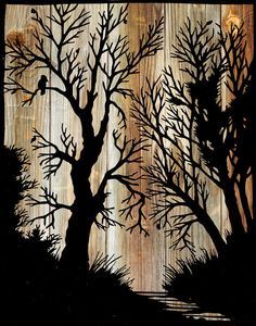 "Papercut Illustration ""Between the Branches"" Folk Art - Woodland Whimsical Silhouette Art - Woodgrain Vintage Fairy Tale Print. Kirigami, Forest Silhouette, Vintage Fairies, Scroll Saw Patterns, Tree Art, Pyrography, Diy Art, Paper Cutting, Wood Art"