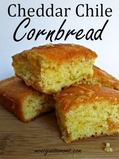 Cheddar Chile Cornbread | easy, from-scratch recipe for flavorful cornbread to go with chili, soups and stews