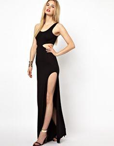AQ AQ Tatianna Maxi Dress With Cut Out And Thigh Split