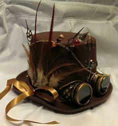 Steampunk Bespoke Victorian Goth Brown Wool Felt Top Hat Aviator Goggles Hat Pins Clocks Skeleton/ Wings/ Feathers/ Keys/ Festival