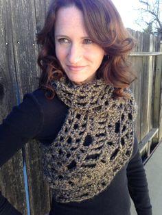 Brown Tan Mix Crochet CowlCross Body by STITCHandCABOODLE on Etsy, $59.00