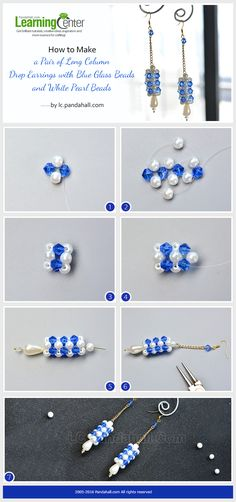 How to Make a Pair of Long Column Drop Earrings with Blue Glass Beads and White Pearl Beads from LC.Pandahall.com