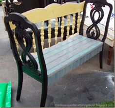 2 old chairs w/ an old bed headboard -> window seat bench (paint, add foam & fabric)