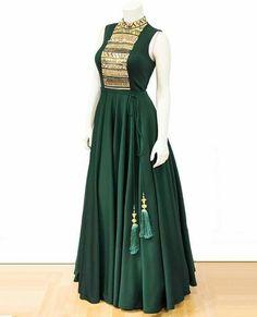 Best 12 Long Green Anarkali with wonderful neck work Long Gown Dress, Sari Dress, Anarkali Dress, Saree Gown, The Dress, Long Dresses, Indian Designer Outfits, Indian Outfits, Designer Dresses