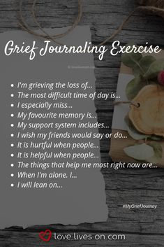 Writing in the journal allows oneself to reflect on their emotions, and thoughts. The goals is to allow the child to open up, express what they are feeling. Grief Activities, Counseling Activities, Therapy Activities, Grief Counseling, Counseling Quotes, Bujo, Journal Writing Prompts, Journal Topics, Grief Support