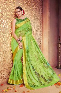 Green Georgette Digital Print Saree with Lace Border