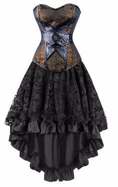 Vintage Steampunk Gothic Overbust Corset Dress