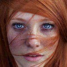 See through by Maja Topčagić - People Portraits of Women ( face, model, lying, beautiful, portrait, eyes, girl, red, blue, woman, redhead, f...