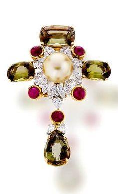 A gem-set and diamond brooch, Asprey