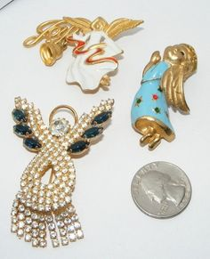 Vintage Christmas Angel Brooch Lot Pins Brooches Pin Costume Jewelry Trembler | eBay SOLD