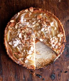 "Pear-Custard Tart from a Williams Sonoma cookbook ""Home Baked Comfort"" by Kim Laidlaw.  Photo by Eric Wolfinger  