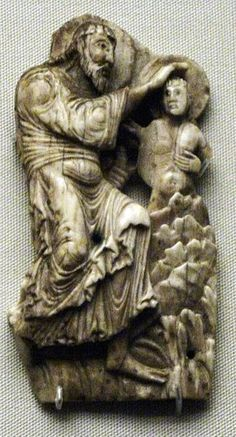 Anglo-Saxon ivory of the Baptism of Christ. British Museum