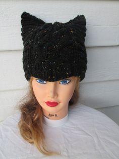 Hand Knit Cat Hat Womens Hat Womens cat hat cat by Ritaknitsall