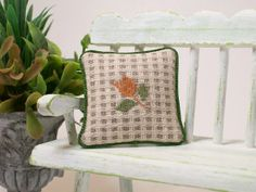 Dollhouse Miniature Pillow Cushion Embroidered Tulip Vintage Fabric AMERICANA One Inch Scale