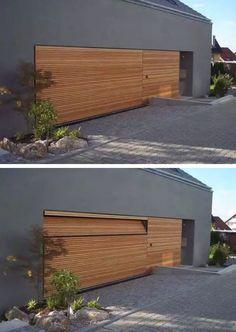 Wood slat garage door by Door Studio Modern Garage Doors, Garage Door Styles, Wood Garage Doors, Modern Entrance, Garage Door Design, Timber Door, Building Exterior, Building A House, Roller Doors