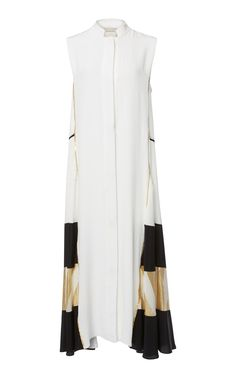 This Zeus + Dione Ionia Crepe De Chine Caftan features a block caftan design with metallic contrast fabric offering an architectural folkloric cut. Duster Coat, Contrast, Ivory, Costumes, Fabric, Polyvore, Jackets, Collections, Shopping