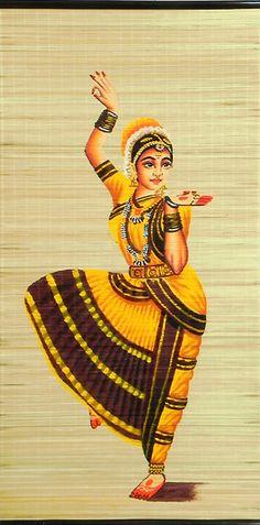 Bharatnatyam Dancer - (Wall Hanging) - Contemporary Hand Painted (Painting on Woven Bamboo Strands) Dance Paintings, Indian Art Paintings, Wall Paintings, Watercolor Paintings For Beginners, Hand Painting Art, Gouache Painting, Watercolor Art, Isadora Duncan, Dancing Drawings