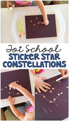 Tot School: Space Stickers are always an engaging way to fit in some fine motor practice, so these sticker star constellations are perfect for a space theme in tot school, preschool, or the kindergarten classroom. Space Theme Preschool, Space Activities, Preschool Science, Preschool Activities, Science Education, Physical Education, Space Theme For Toddlers, Space Theme Classroom, Toddler Crafts