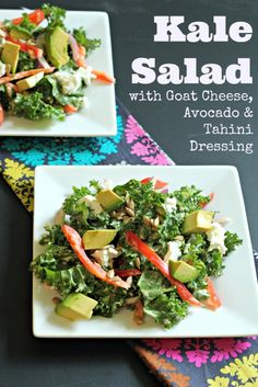 Kale Salad with Avocado, Goat Cheese and Tahini Dressing #vegetarian #glutenfree