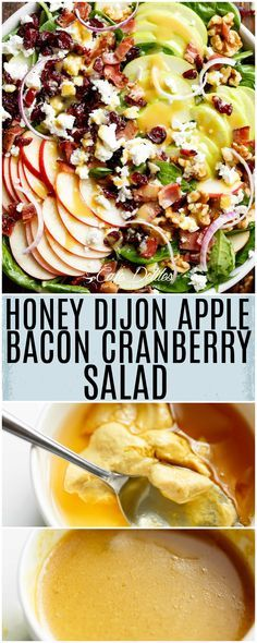 Honey Dijon Apple Bacon Cranberry Salad screams FALL! Cranberries, Spinach, Walnuts And BACON! All drizzled with the most perfect Honey Dijon Dressing!
