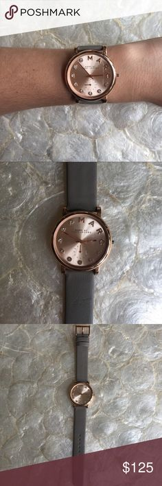 Marc by Marc Jacobs Baker Rose Gold Watch MBM1400 100% authentic Marc by Marc Jacobs Baker Rose Gold Women's Watch MBM1400. Grey Leather Strap. Quartz movement. Case diameter 36 mm. Mint condition. Marc By Marc Jacobs Accessories Watches