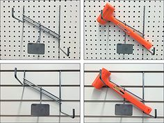 Many Display and Scan Hooks are capable of mounting to multiple surfaces. But not all Hooks interchange with all surfaces. This Hammer Holder functions equally well as a Pegboard and Slatwall Fixtu. Pegboard Garage, Garage Tools, Garage Ideas, Slat Wall, Shop Organization, Diy Kits, Gauges, Hardware, Display
