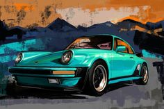 Expressive retro color painting of the Porsche Carrera Great gift for anyone who loves Porsche. Great fathers Day gift, Graduation gift, Birthday gift Available as canvas print or high quality (non fading) Giclee print Prints are sold Unframed. Porsche Carrera, Porsche 911, Porsche Autos, White Horse Painting, Car Painting, Painting Canvas, Large Wall Art, Large Art, Automotive Art