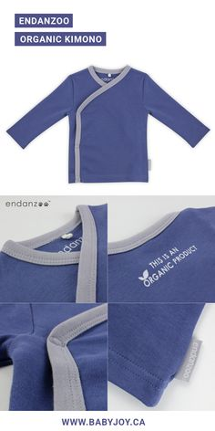 Endanzoo Organic Kimono (Navy). Made with 100% GOTS certified super soft organic cotton.