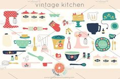 Vintage Kitchen Clip Art by Citrus and Mint on @creativemarket