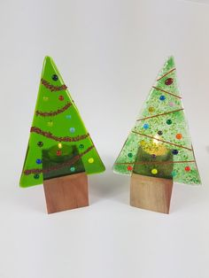 fused glass christmas candle panel with wooden candle holder, glass candle sreen, fused glass panel, christmas ornament by Fused Glass Ornaments, Fused Glass Art, Glass Christmas Tree, Christmas Ornaments, Gold Christmas, Christmas Christmas, Holiday, Glass Fusing Projects, Spectrum Glass