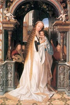 Quentin Metsys, Virgin and child with three angels - Musée des Beaux-Arts, Lyon Lady Madonna, Madonna Art, Madonna And Child, Renaissance Paintings, Renaissance Art, Religious Icons, Religious Art, Religious Paintings, Beaux Arts Lyon