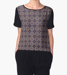Crossed Floral Lace in Yellow and Pink on Purple by TC-TWS
