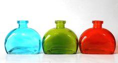 Lot, set of 3 Empty blue, green, orange colored Glass rectangular rounded corners bottles, 6 oz, vase, DIY gift, wedding, party favor